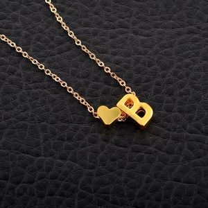 Jewelry - Heart Charm & B Initial Gold Necklace